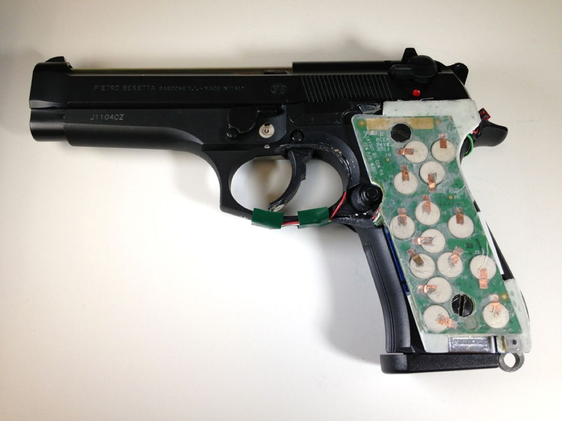 Researchers are looking to create bespoke handguns by equipping pistols with sensors meant to distinguish the owner's grip from that of an unauthorized would-be shooter. On this weapon, being given the high-tech treatment by a group at the New Jersey Institute of Technology, transducers will detect the owner's grasp.