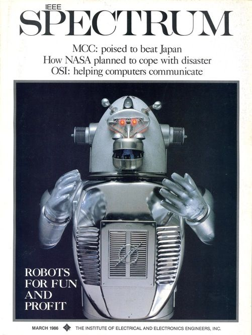 "A gorilla robot built from old housewares and car parts made our March 1986 cover. The story was about engineers and artists who built robots for fun and even profit. The monkey robot, which seemed to have ""stepped out of some strange art deco science fiction world,"" belonged to the Oakland Museum, in California."