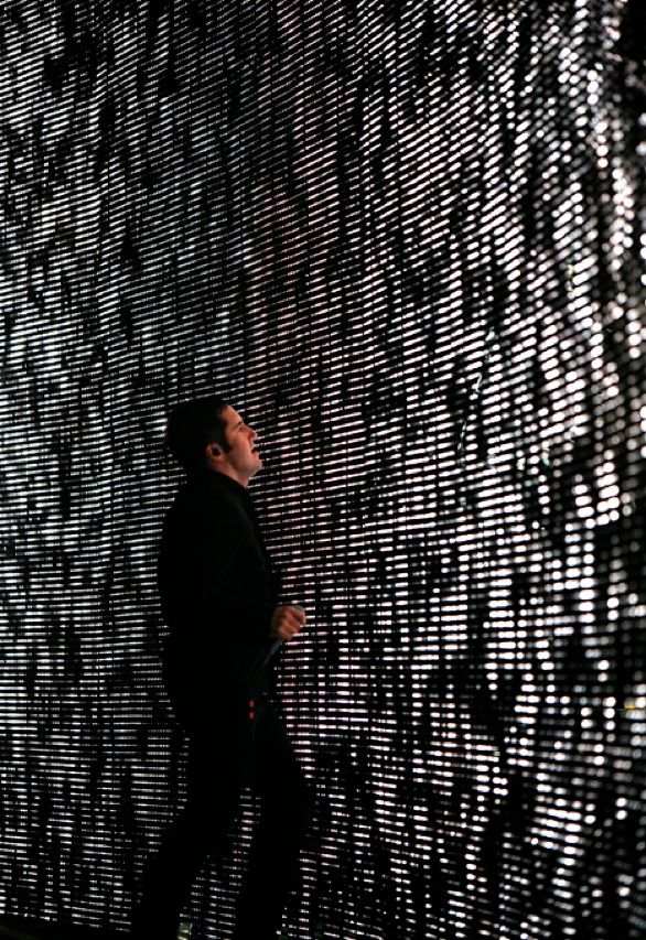 A DIY ROCK STAR: Reznor stands before one of the LED pixel screens. A self-taught coder and self-described geek, Reznor takes a hands-on approach to customizing the technology that drives his live performances.<