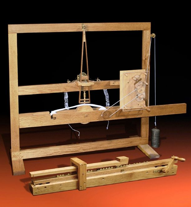 "MORSE'S MAGNET: In the 1800s, electromagnetism became increasingly important, as in the telegraph, where closing and opening a circuit remotely activated an electromagnet. In this 1837 Samuel Morse demonstration telegraph, a ""port-rule"" transmitter [foreground] transmits the numbers 1 through 9 to the pen register receiver [rear]. A codebook translated numbers into messages. For example, ""8732"" might mean ""reply requested."""