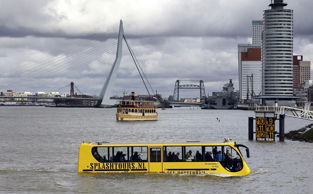 We don't need no stinkin' bridges. That seems to be the message delivered by a bus company in Rotterdam, Netherlands. The Amphibus pictured here can cruise the streets, then ferry passengers across the city's waterways as it completes its route.