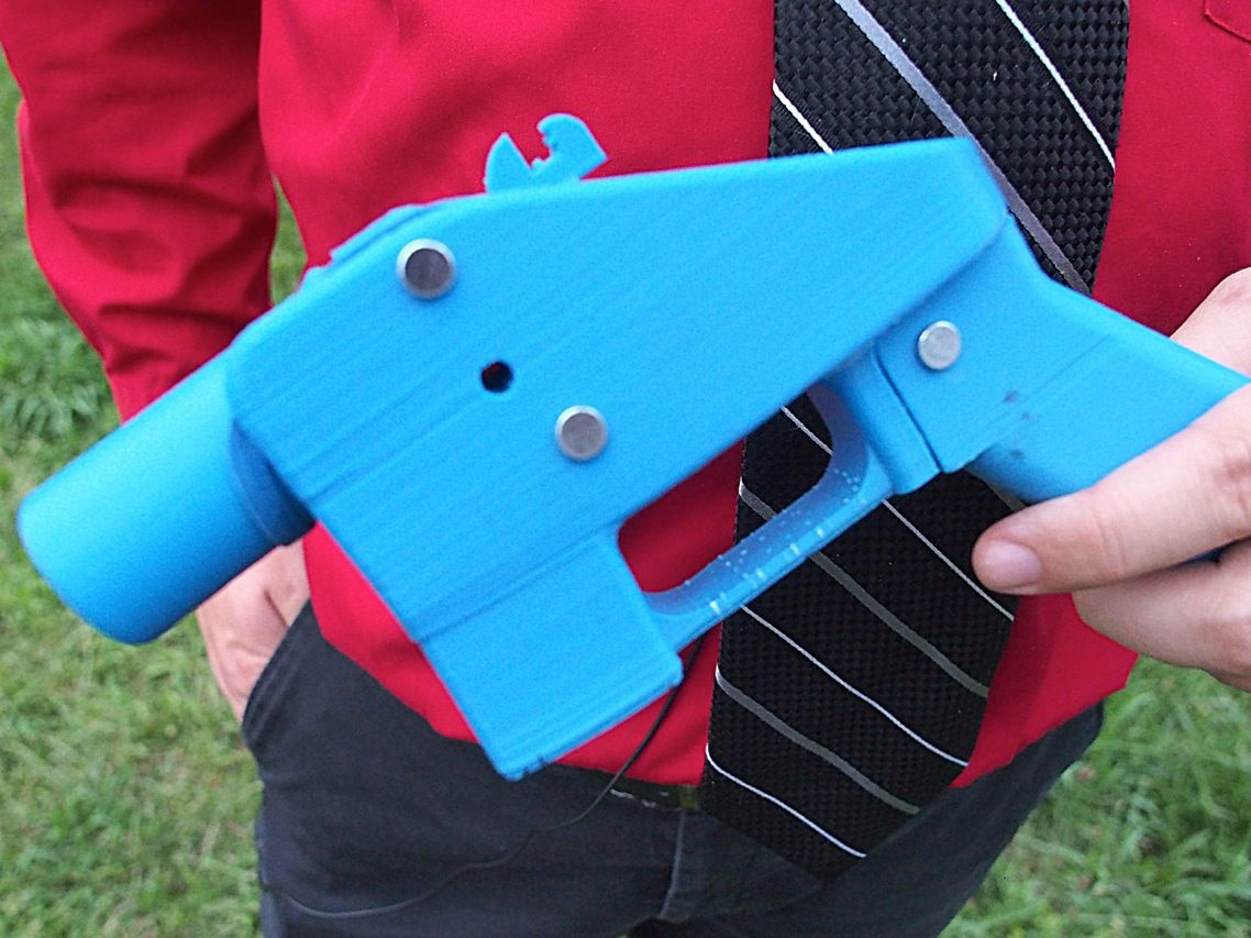 """For better or worse, it may soon be true that anyone with a computer and a 3-D printer could become a gunsmith. You can put together the Liberator handgun from parts churned out by a 3-D printer using designs available on the Internet. Within 48 hours of downloading the design, software engineer <a href=""""http://www.youtube.com/watch?v=Spm_zrjedzk"""">Travis Lerol</a> (video) of Baltimore, Md., used his US $1300 3D Systems Cube printer and $30 in materials to make his own working pistol."""