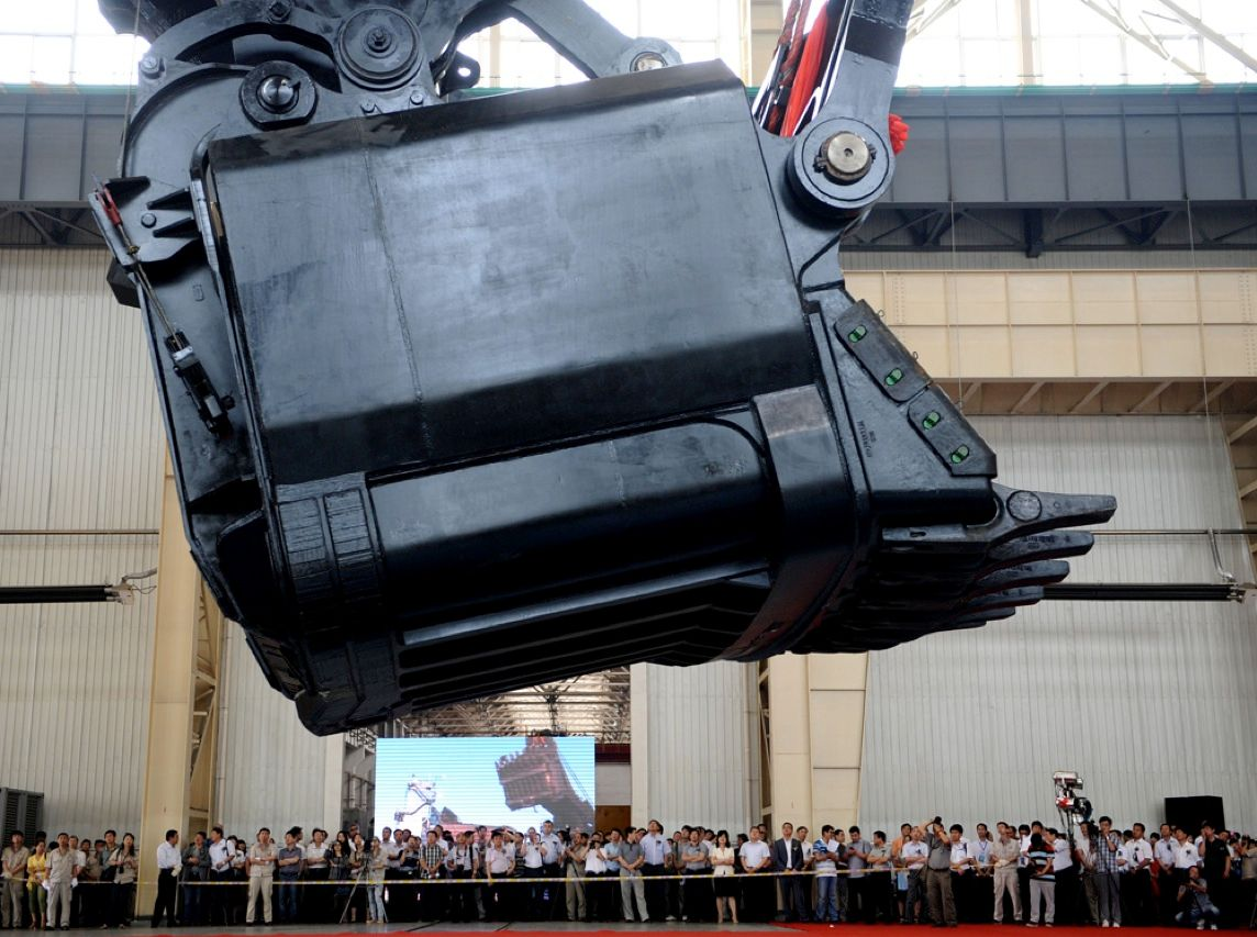 This gargantuan bucket is part of Taiyuan Heavy Industry Co.'s WK-75, the largest mining excavator in the world. The shovel, which can move 75 cubic meters of earth with a single scoop, can be used to dig up to 12 000 metric tons  of coal per hour. But there is no concern that such heavy loads may cause the attached vehicle to tip over: The excavator is longer than a basketball court and weighs 2000 metric tons.