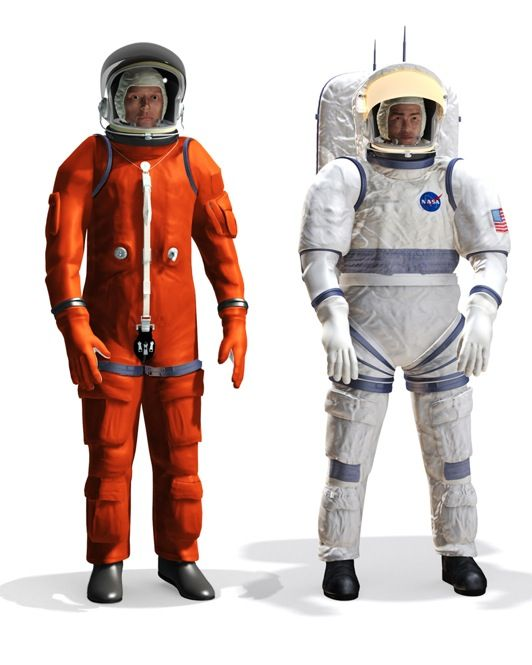 READY TO WEAR: As part of its Constellation program to send astronauts back to the moon and then to Mars, NASA hopes to debut an all-purpose spacesuit. Wearing it, astronauts will be able to go from launch to extended lunar stays simply by switching the components and layers of the modular suit. Configuration One [left] lacks a life-support system and will be used only inside or near the spacecraft. Configuration Two [right] will be worn during surface exploration missions.