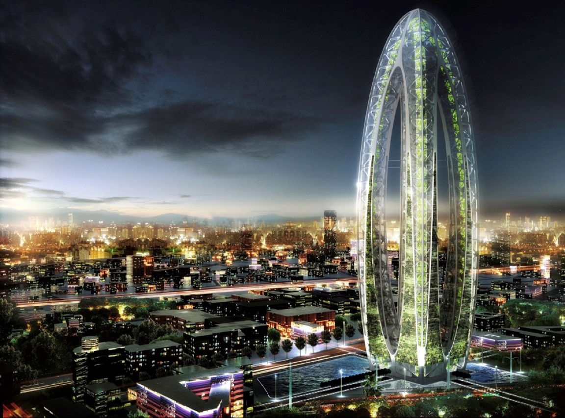 A futuristic skyscraper called the Bionic Arch will look something like this when it's completed sometime in 2016. The 380-meter-tall tower, to be located in Taiwan, will feature sky gardens on each of its 23 floors. The plant life, in combination with built-in solar panels and wind turbines, will allow the building to clean the air inside and out, generate enough energy to meet its needs, <i>and</i> light the surrounding Taichung Gateway Park.