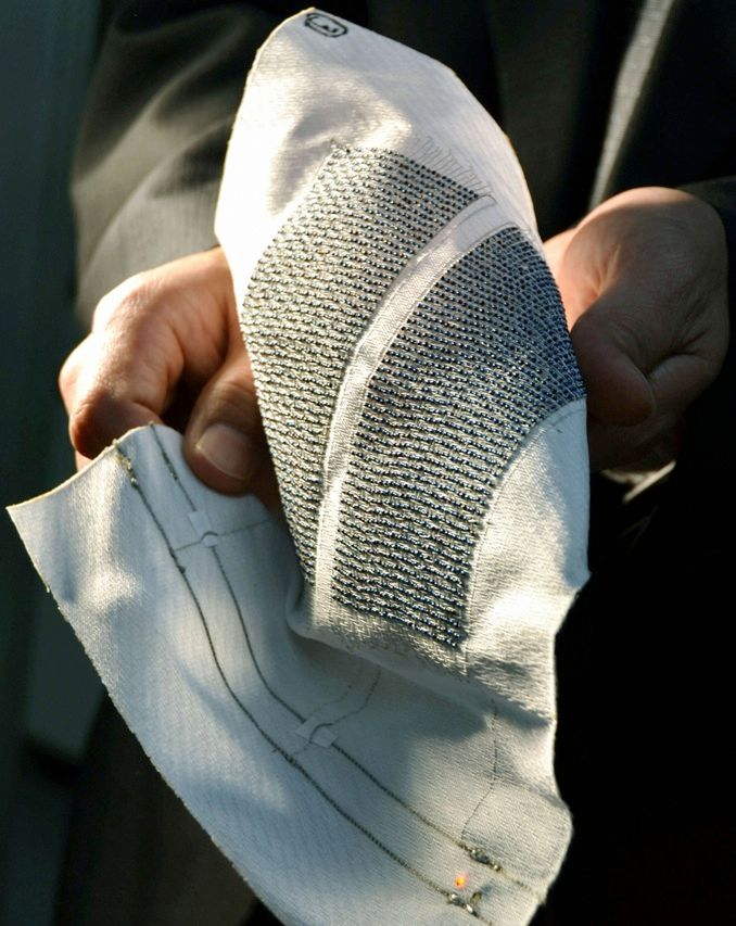 Researchers from the Industrial Technology Center of Fukui prefecture, in Japan, have teamed up with a textile maker and a solar battery manufacturer to produce textile fabric interwoven with 1.2-millimeter-diameter solar-cell balls. The researchers say that solar fabric—which they aim to commercialize by 2015—will likely yield more energy than today's flat solar panels, because the spherical balls will absorb sunlight from any direction.