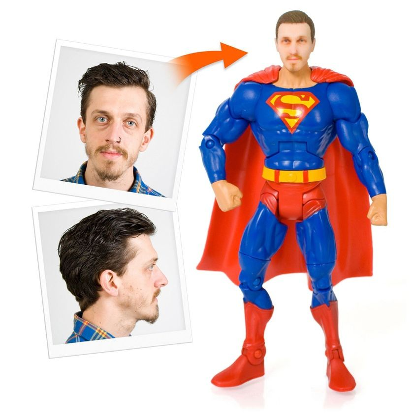 """You may never be granted superpowers, but <a href=""""http://www.firebox.com/product/5300/Personalised-Superhero-Action-Figures"""" target=""""_blank"""">Firebox.com</a> will at least let you have a superhero's body—sort of. Submit front-facing and profile pictures of yourself and the company will use a 3-D printer to make a plastic model of your head that fits on a 17-centimeter-tall action figure of your choice."""