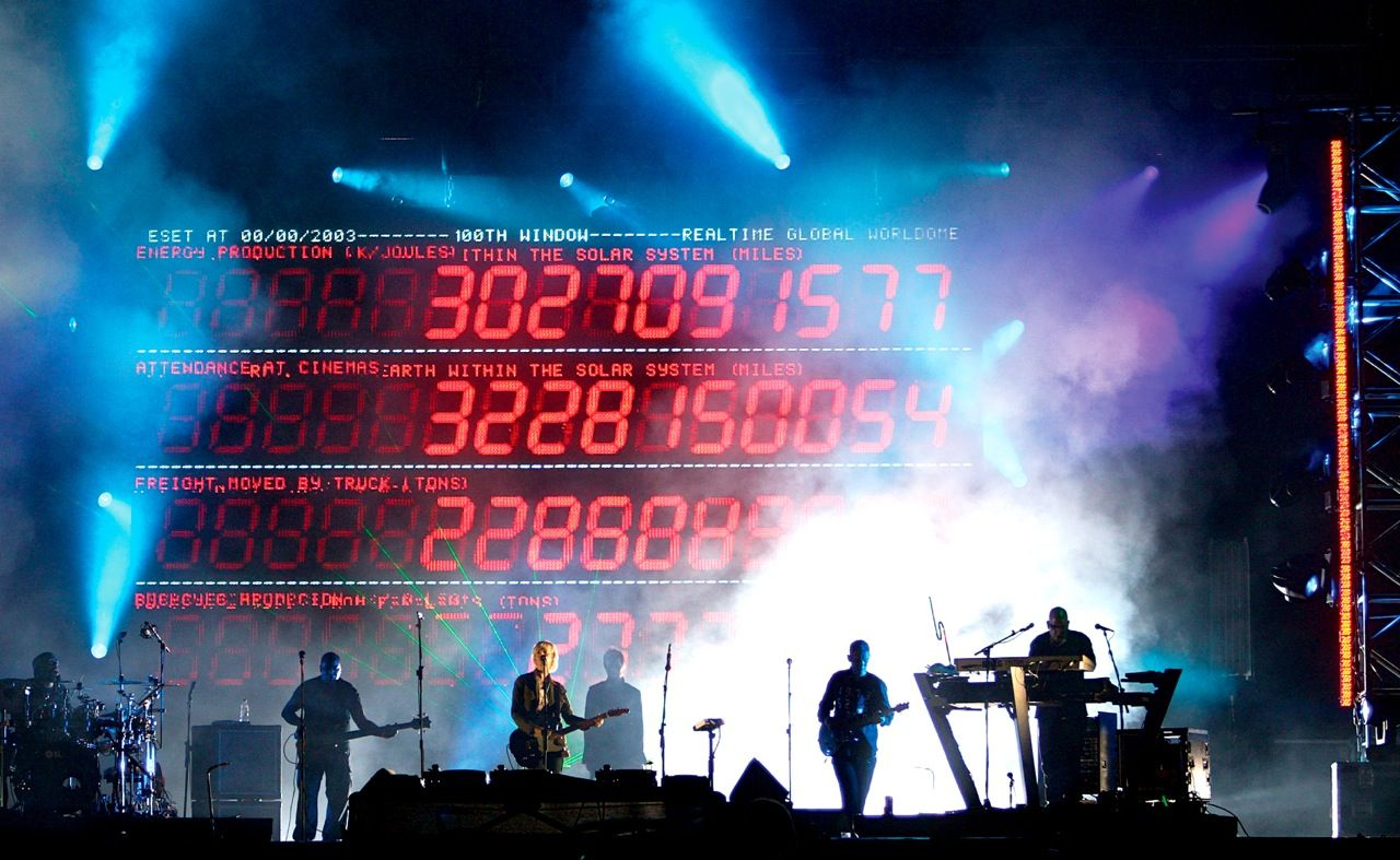 UVA's first project was to create the stage design and visuals for the 2003 world tour of the band Massive Attack. A giant LED screen at the back of the stage became a digital information display, rendering information about natural phenomena in a range of physical scales—from subatomic particles to constellations.