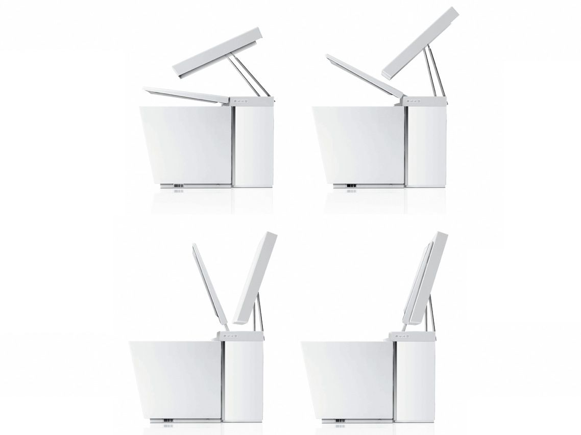"""Kohler's Numi toilet puts the """"funk"""" into multifunctional. The commode doubles as a loudspeaker, playing music streamed from a Bluetooth gadget, loaded onto an SD card, jacked in via an auxiliary cable, or tuned in using a built-in FM radio. The toilet has sensors that tell it to open or close the cover; they also raise or lower the seat depending on the position of your feet, ending the anger and recriminations over someone splashing down into the water in the middle of the night. The Numi toilet has a self-cleaning bidet wand, a heated seat, and vents that blow soothing warm air on your feet."""