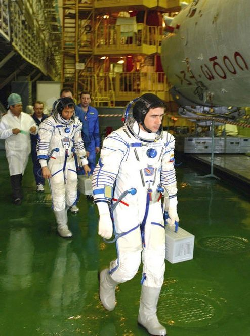 SUITED FOR SOYUZ: Russian cosmonauts have worn versions of their Sokol space suit since the 1970s. The suit was first developed after Soyuz 11 lost pressure upon reentry to Earth in 1971, killing its crew. The Sokol is worn only during launch and reentry. NASA uses a similar suit for the same purpose.