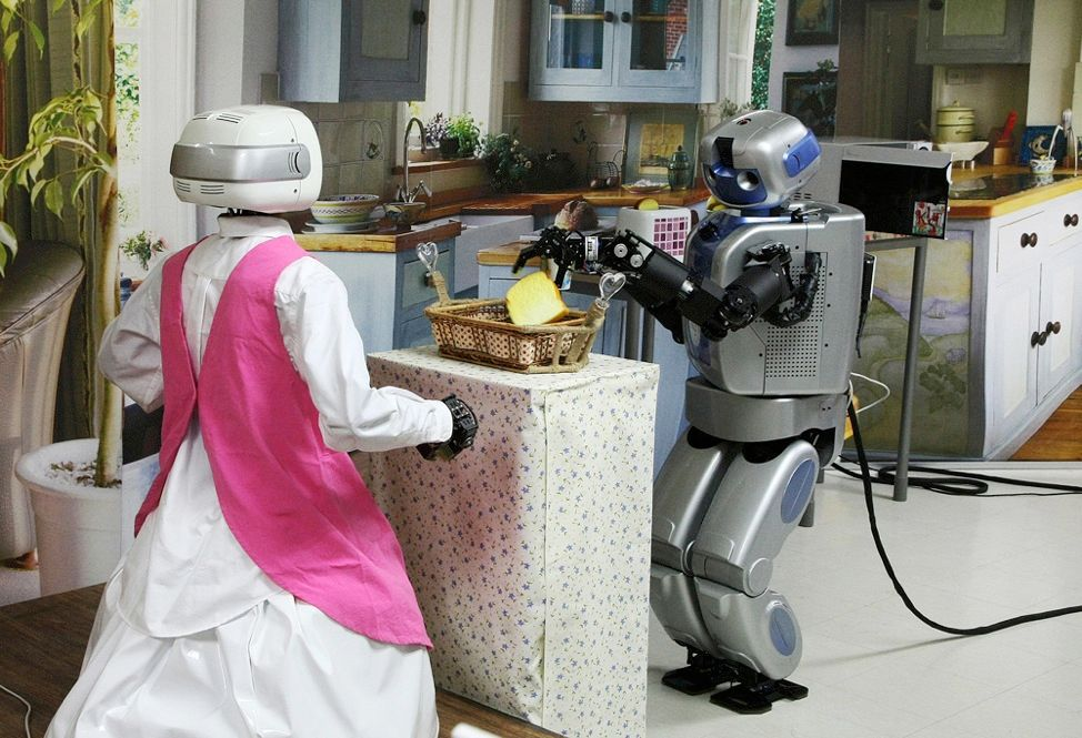 "We're tantalizingly close to having robotic household servants. Mahru-Z [right, with ""older sibling"" Mahru-M], an automaton developed by researchers at the Korea Institute of Science and Technology, can clean, put your dirty clothes in the washer, pop your snack into the microwave, and bring it to you. The 1.5-meter-tall domestic is the result of a two-year project."