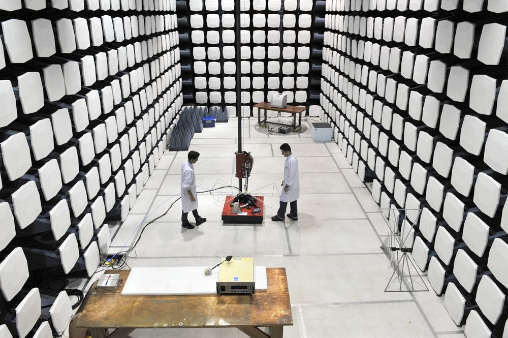 Although this room is reminiscent of a docking bay on a sci-fi spaceship, it's actually an earthbound chamber designed to block out external electromagnetic signals. Researchers use the room, located at Brazil's National Institute for Space Research facility in São José dos Campos, to conduct experiments in which the slightest stray wave could throw off the results.
