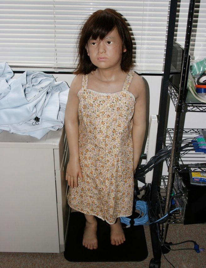 Repliee R1 is a copy of a real 4-year-old girl. Built at Osaka University, it has nine DC motors in its head, prosthetic eyeballs, and silicone skin. When the original girl saw her android copy, she cried.