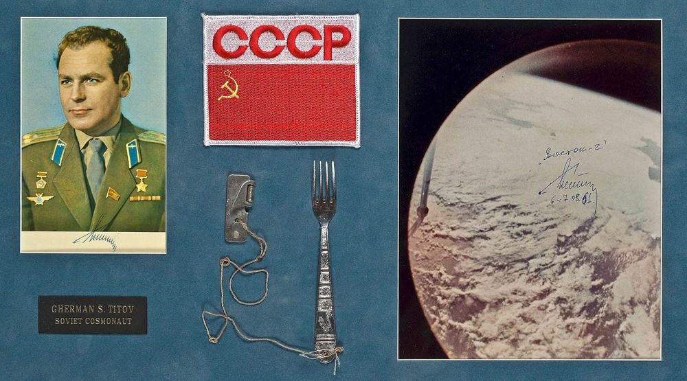 An aluminum fork and can opener used by the first man to orbit the Earth for a full day, cosmonaut Gherman Titov, sold for $5490. While NASA designed new food packaging and freeze-dried meals for its astronauts, Soviet engineers made a different choice: They simply took a child's fork to lighten the load. The items are framed together with two photographs signed in Russian by Titov.