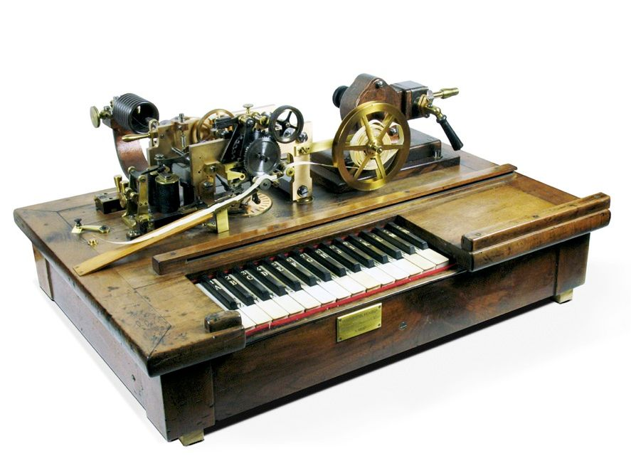 PLAYER-PIANO TELEGRAPHY? Morse's telegraph wasn't the only game in town, nor even the most technologically impressive. The Hughes printing telegraph used a piano-style keyboard instead of codes. Morse won out in the marketplace, but Hughes's ideas didn't lose out entirely—a visit by Christopher Sholes to a Hughes telegraph office would eventually lead to Sholes's 1868 invention of the typewriter.