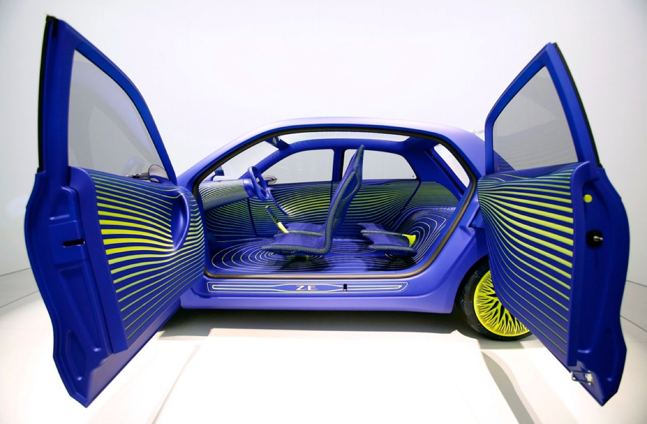Renault's concept electric car, the Twin'Z, is a collaboration between the French automaker and Ross Lovegrove, whose designs mimic natural forms. The vehicle's interior has lines that suggest a tree's growth rings, and its wheels are meant to look like branches. The rear-wheel-drive vehicle, powered by four lithium-ion battery packs, buzzes around for about 160 kilometers on a single charge.