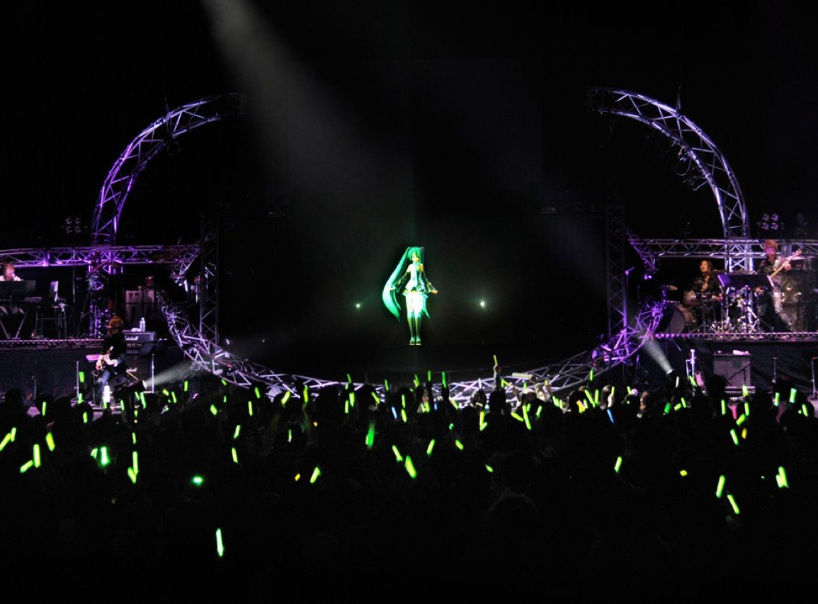 People critical of today's music argue that it doesn't take a lot of talent to become a pop star. The popularity of Hatsuna Miku, whose albums have topped Japanese music charts, proves that you don't even have to exist. Miku is a 3-D holographic avatar created by Crypton Future Media using Yamaha Corp.'s Vocaloid voice synthesizing technology. The virtual star's voice was patched together from samples of Japanese voice actress Sake Fujita.