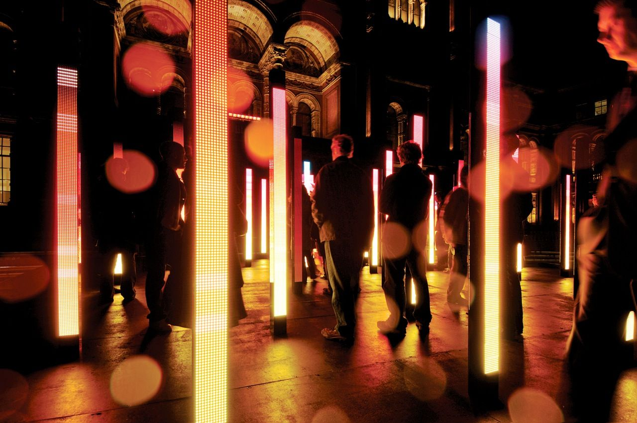 Volume consisted of a grid of 46 LED columns, each 2.5 meters tall and equipped with its own speaker. An infrared camera mounted above the installation tracked visitors' positions relative to the columns.