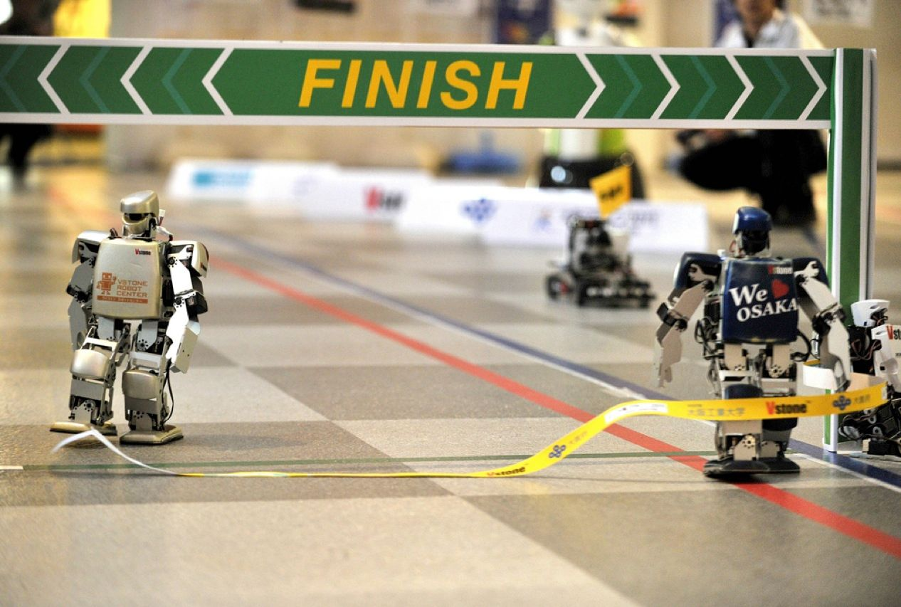 "The world's <a href=""http://spectrum.ieee.org/automaton/robotics/humanoids/first-robot-marathon-ends-with-great-finale""target=""_blank"">first full-length marathon for bipedal humanoid robots</a> began on 24 February in Osaka, Japan. The winner of the 42.195-kilometer race, Robovie-PC, made by Vstone Co., broke the tape at the finish line nearly 55 hours after it set out on the course."
