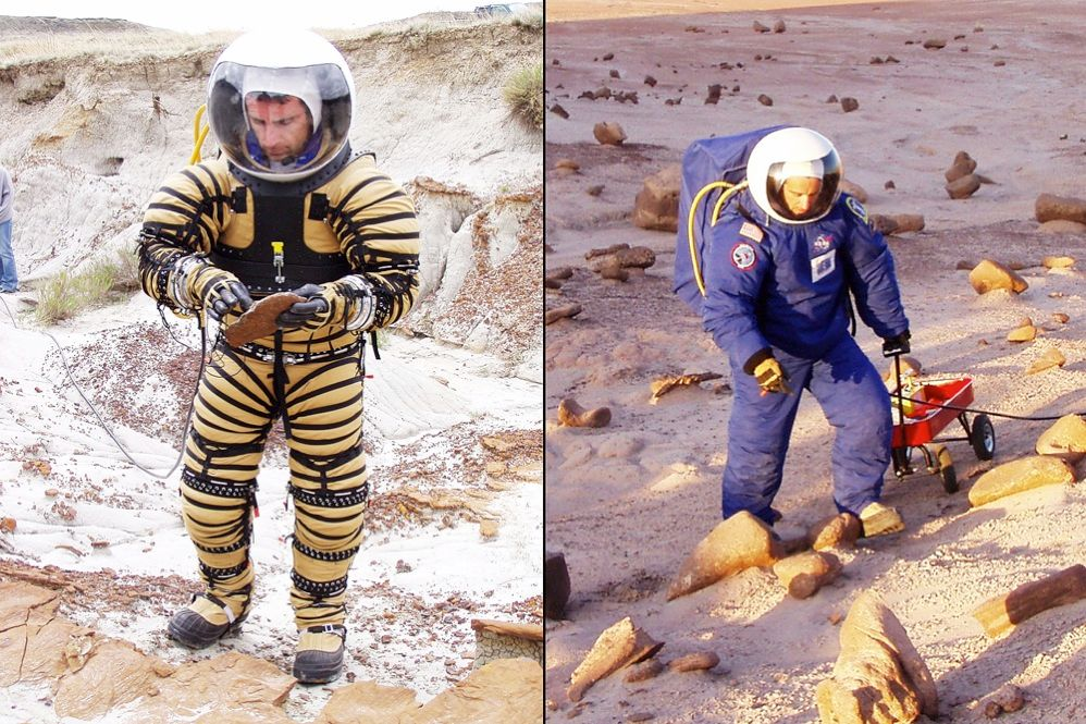 "RESEARCH IN MOTION: The latest space suit prototypes emphasize mobility. Space suit researcher Pablo de Leon, of the University of North Dakota, in Grand Forks, is developing a suit for Mars exploration. The tan and black ""restraint layer"" allows more flexibility, says de Leon. Blue overalls protect astronauts against the cold and dust."
