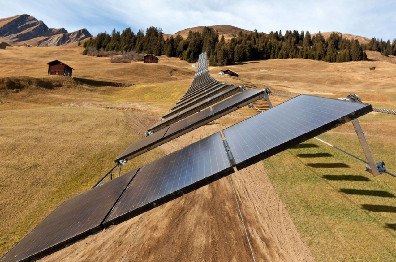 When you're out for a day of skiing, do you consider the amount of energy used by the lifts? Well, someone has given it some thought. Well before these slopes in Tenna, Switzerland, were covered with white powder, engineers installed 82 solar panels to create the world's first ski lift powered entirely by the sun's rays.