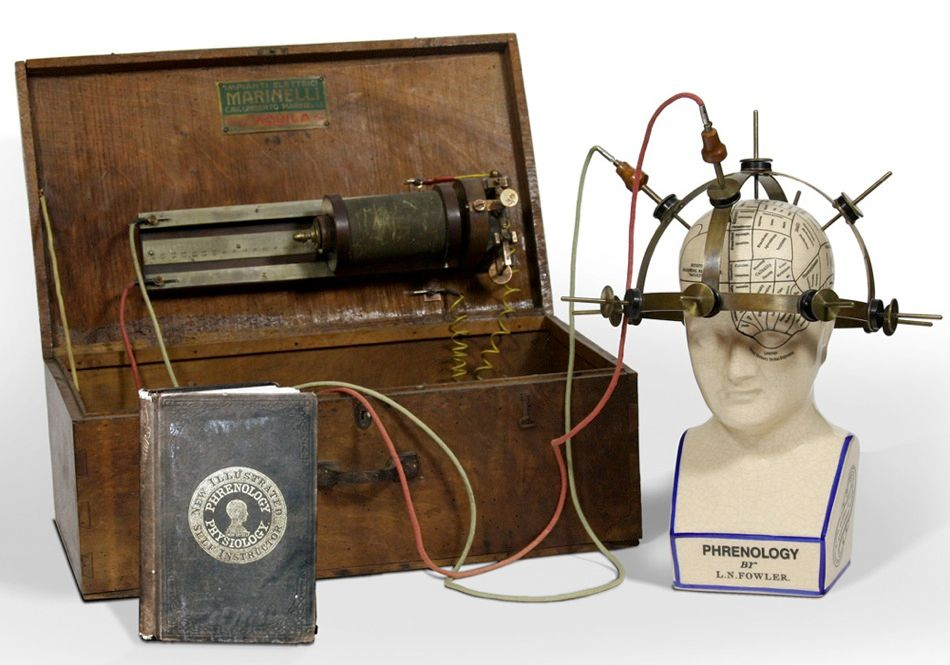 HEAD CASE: Today's electromedical researchers are busy mapping the brain, but 19th-century electrical engineers were already on the case. This electrical phrenology apparatus consists of two parts, a headpiece and a wooden box containing a sledge induction coil and three batteries. The headpiece forms a crown 23 centimeters (9 inches) in diameter with 13 brass electrodes evenly spaced across it.