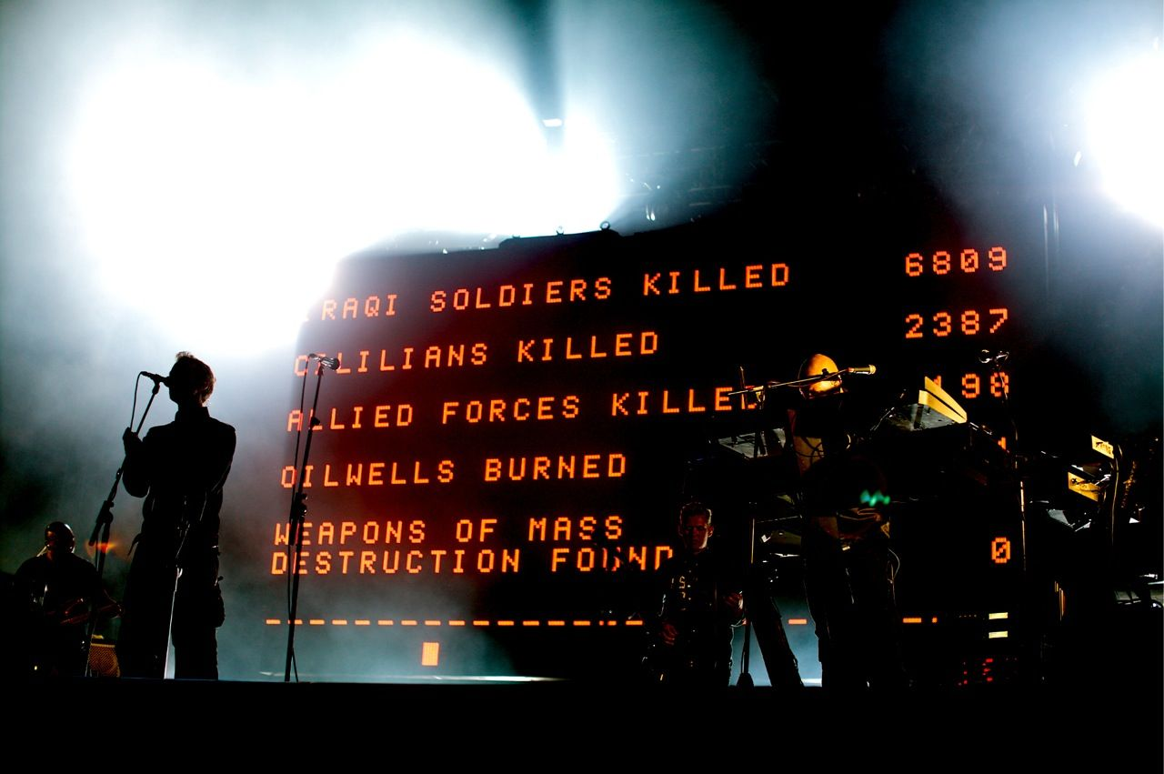 Audiences at the Massive Attack shows were treated to real-time information, including the day's headlines translated into the local language, stock prices, weather reports, soccer scores, and messages from other fans.