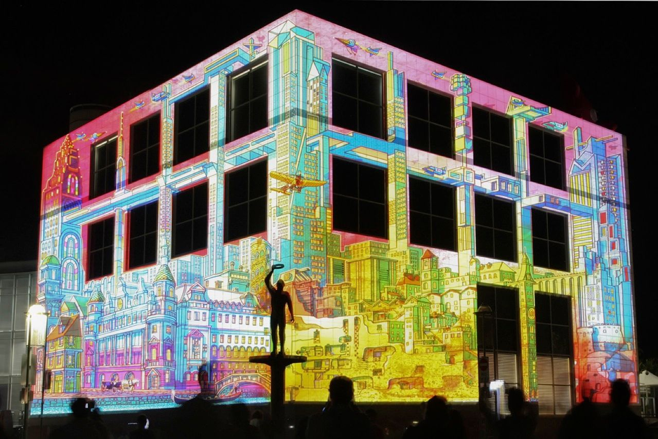 At Canberra, Australia's nine-day Enlighten Festival, which took place in early March, artists got an opportunity to use the city's iconic works of architectural art—including the National Science and Technology Center, shown here—as canvases. But no buildings were harmed in the making of the installations. The artists teamed up with Electric Canvas, a company that specializes in large-scale light projections, to craft virtual drawings and beam them onto the structures' walls.