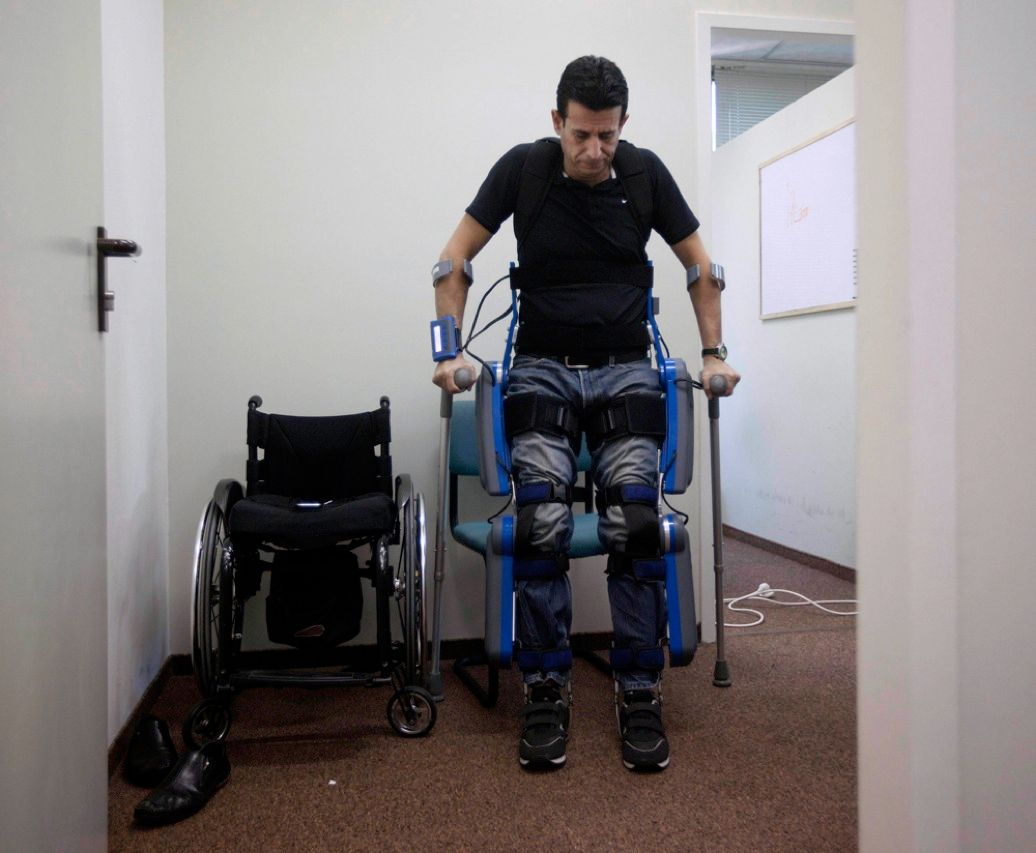 ReWalk robotic pants, which allow paralyzed people to stand up, walk, and even climb stairs, will go on sale this month. The device, from Argo Medical Technologies, in Yokneam, Israel, was invented at the behest of an Israeli entrepreneur who was paralyzed in a car crash in 1997. It uses a suite of sensors to determine a user's intentions and electronic motors to carry them out.