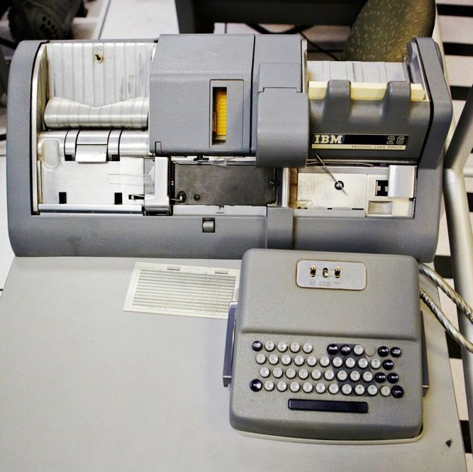 PLAYING WITH A FULL DECK: The IBM 026 keypunch, a design dating back to the 1940s, entered numbers and letters into a data card. <