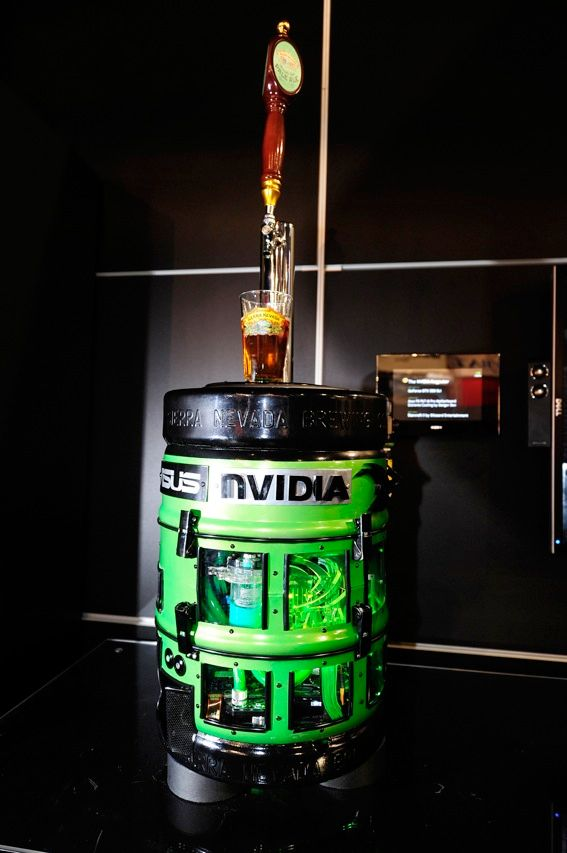 Pretty soon, we'll be hearing admonitions against drinking and downloading. At its booth at the 2011 International Consumer Electronics Show in January, Nvidia showed off a gaming computer that also dispensed beer. The beer-keg computer, which contains two Nvidia GeForce graphics cards and an Intel Sandybridge processor chip, can quench gamers' thirst with 9.5 liters of ale.