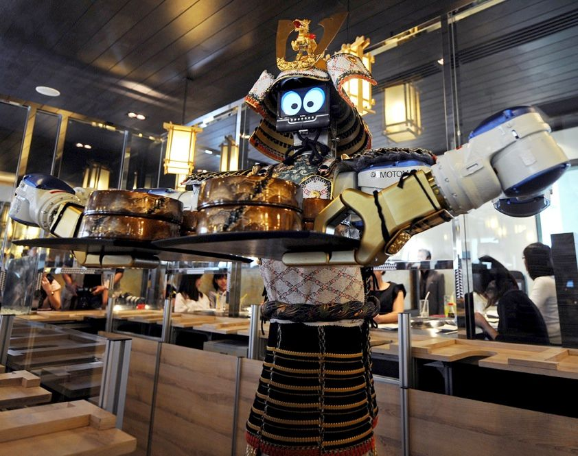 Want a restaurant where the waiters never forget your order or disappear for a cigarette break just when you need a refill? Try a Japanese robot restaurant like this one in Bangkok. Patrons order food on touch-screen displays, and the servomotor servers go to work.