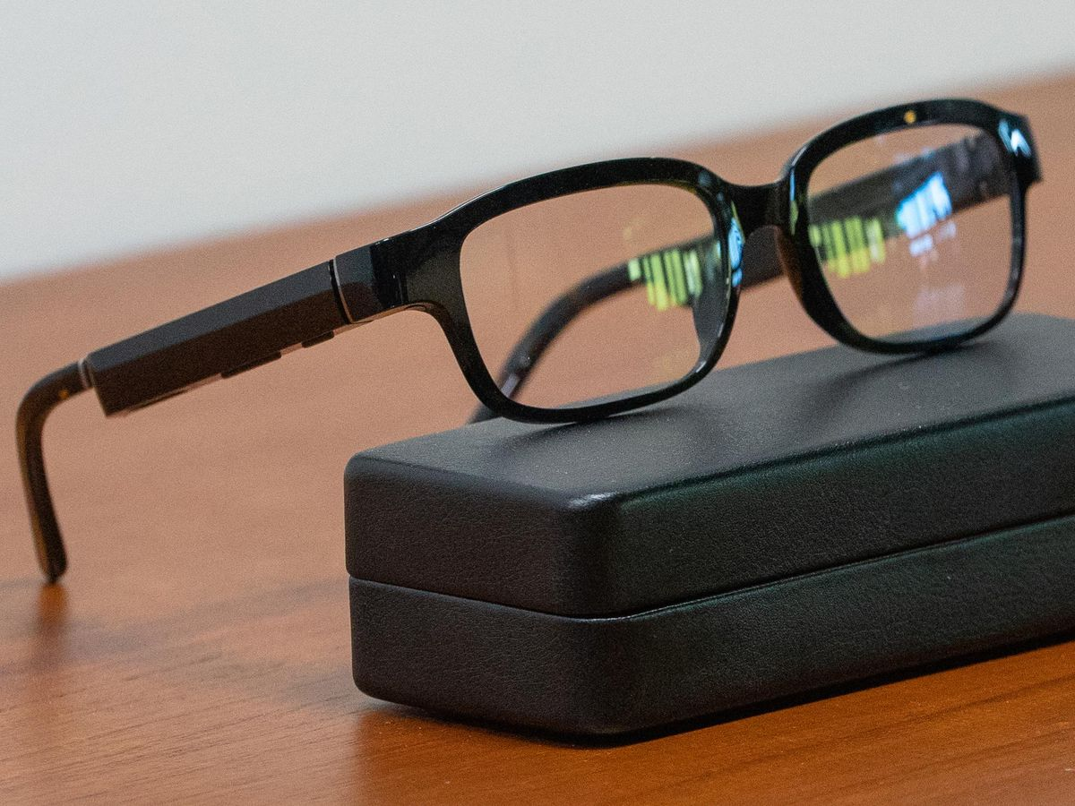 Glasses sitting on a case