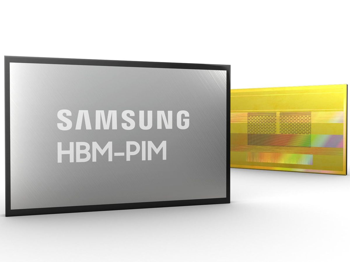 A grey box labelled Samsung HBM-PIM and a yellow rectangle with two smaller rectangles, each with smaller rectangles, inside.