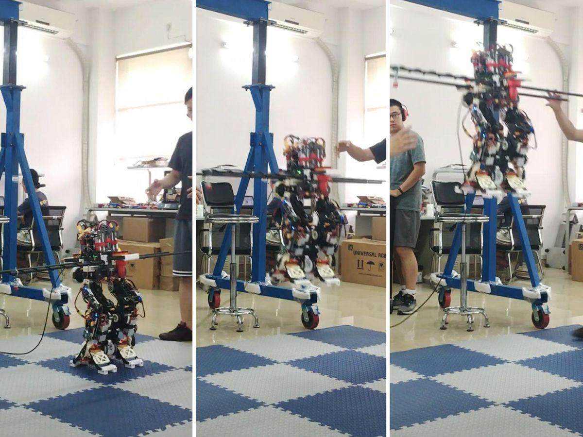 robot humanoide toma vuelo