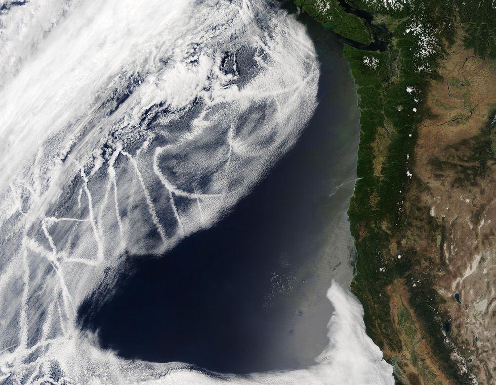Satellite imagery. To the left is white clouds with tracks forming within. To the left is green and brown land mass.