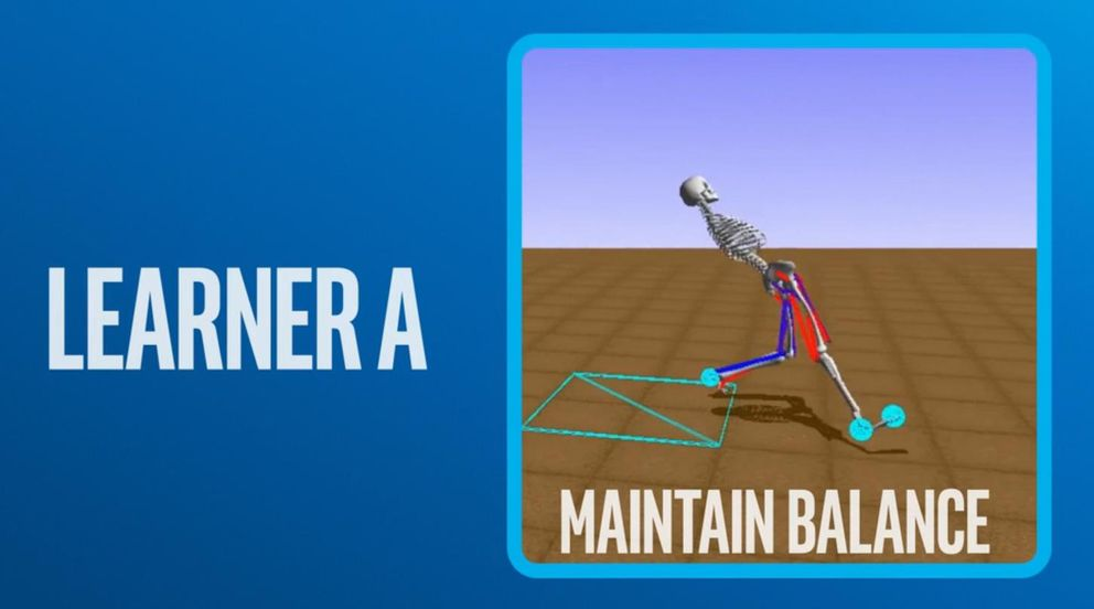 """The words Learner A on a blue background. On the right, it says """"maintain balance"""" and above is a skeletal stick figure falling backwards."""