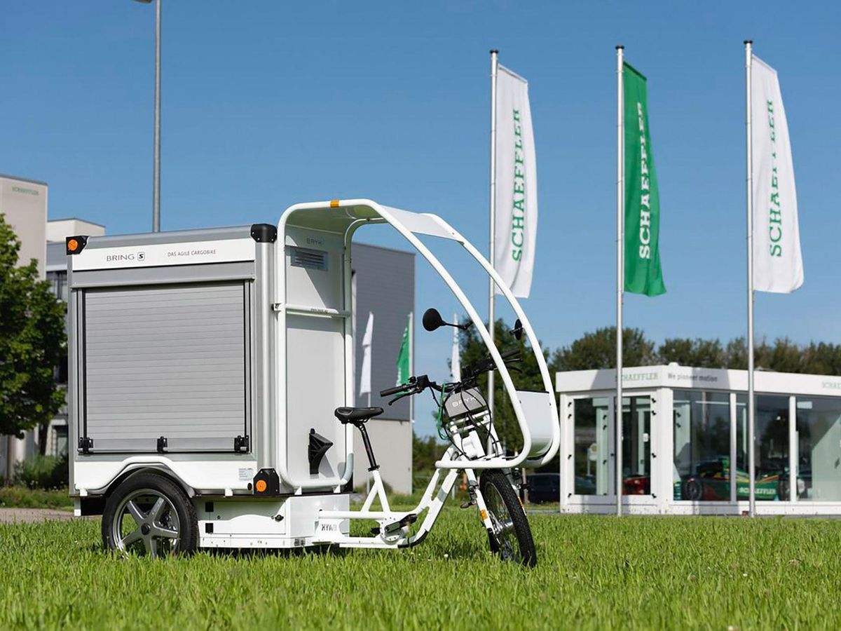 Schaeffler's chain-free bike parked in grass.