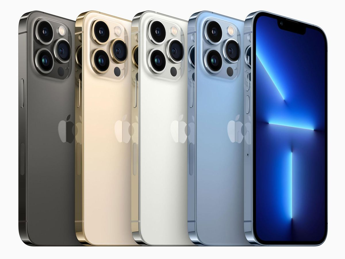 iPhone 13 in various colors.