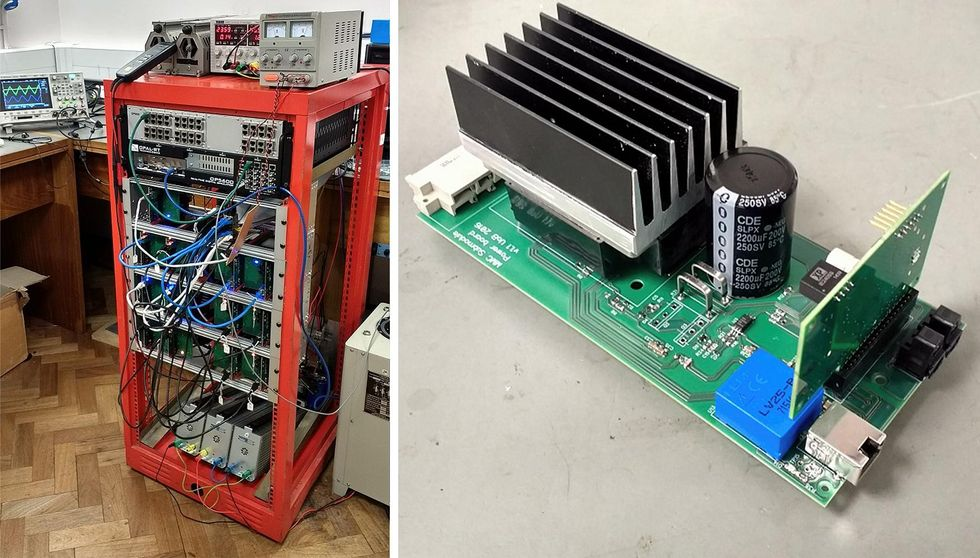 Two photos. The left shows a large red metal frame filled with silver electronics and wires. The right shows a green circuit board with blue and black components.