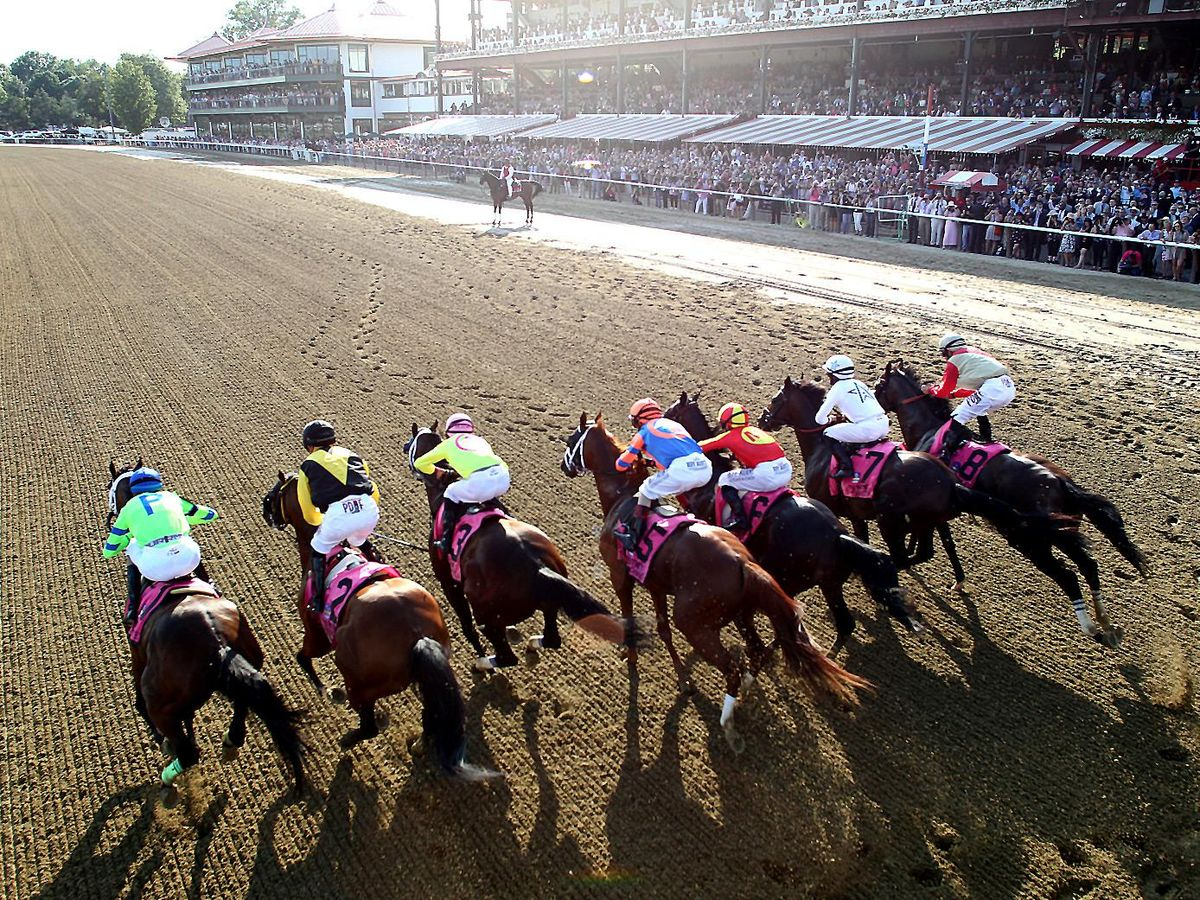 Nine neck-and-neck horses gallop over a dirt surface in front of crowded stands