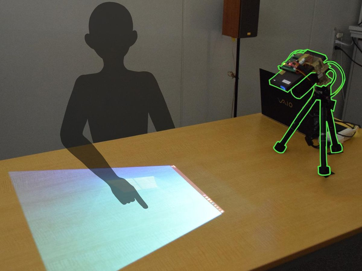 A projector-camera system that can display a touchscreen on any surface.