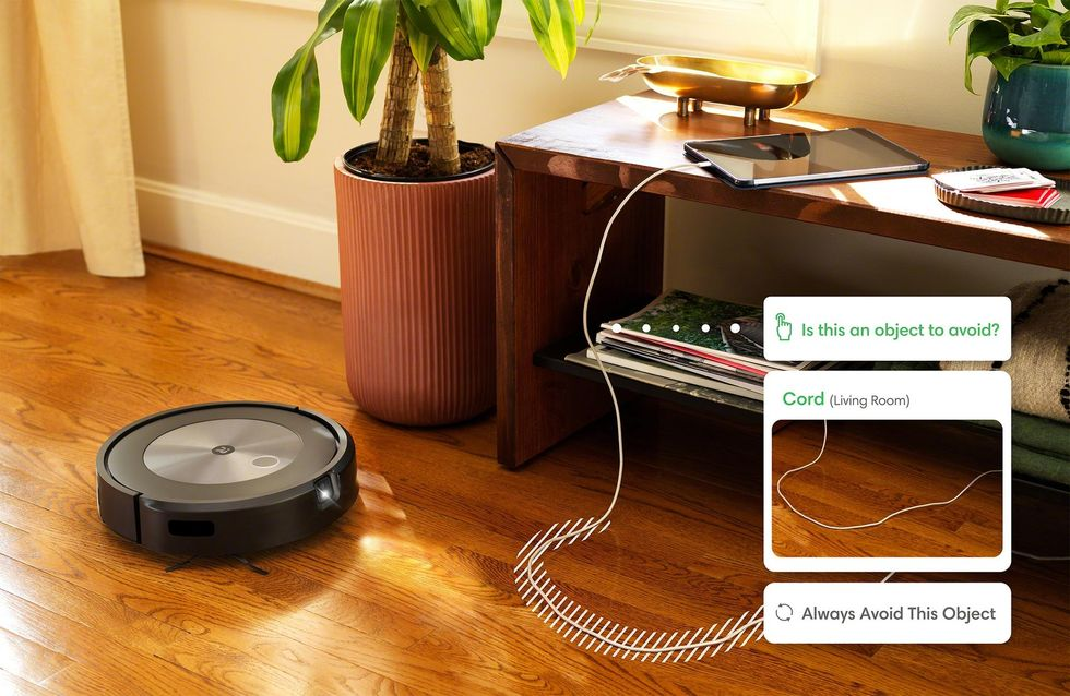 Photo of Roomba j7 detecting a cord and asking a user whether to always avoid that spot.