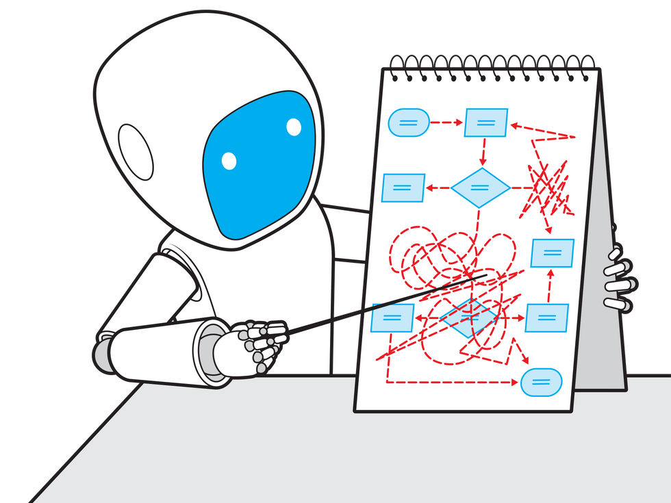 Robot pointing at a chart.