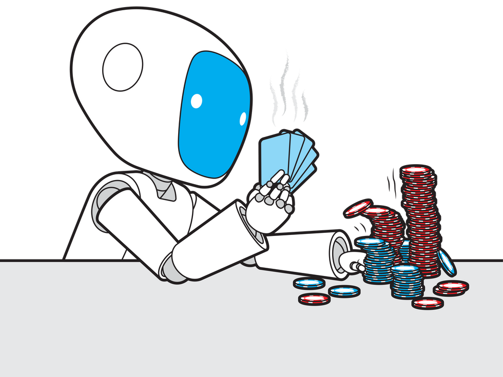 Robot holding a hand of cards and pushing chips