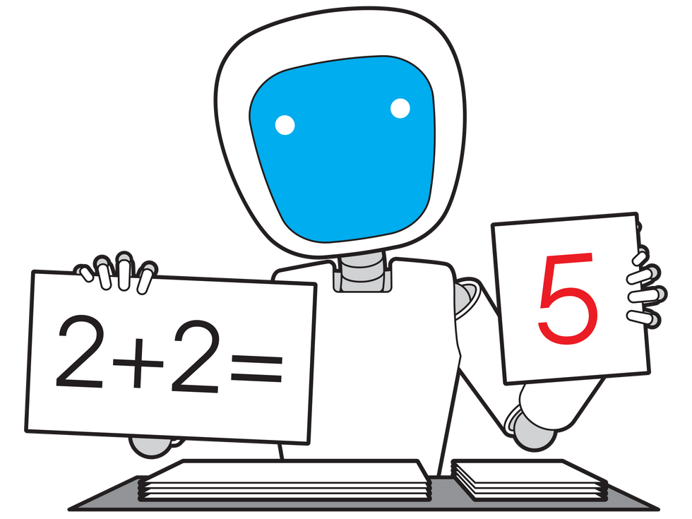 Robot holding cards with