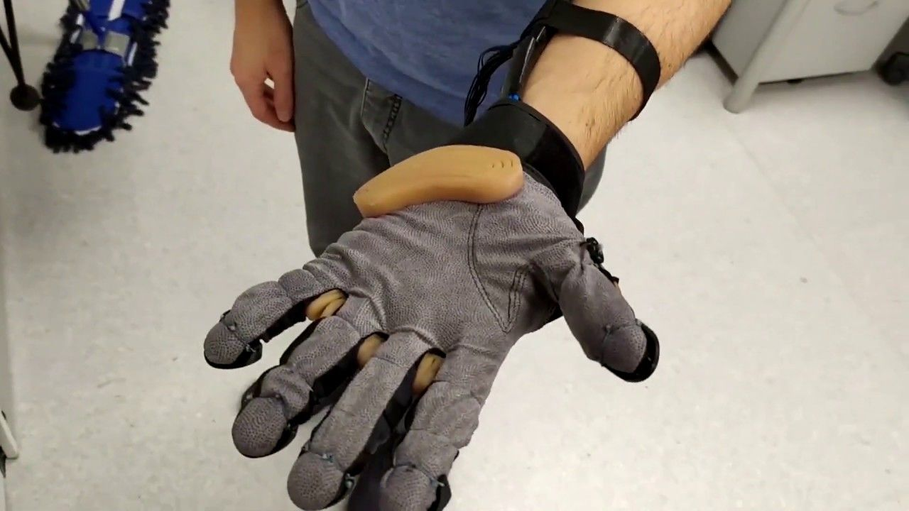 Faboratory at Yale University's soft exoskeleton glove with telescopic extra thumb