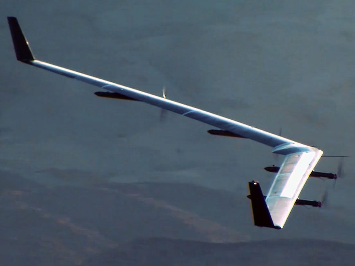 Facebook's solar-powered Aquila drone on it's maiden voyage in 2016.
