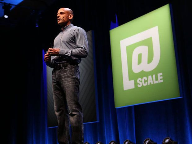 Facebook's Vice President of Engineering Jay Parikh addresses the engineers attending the third annual @Scale conference