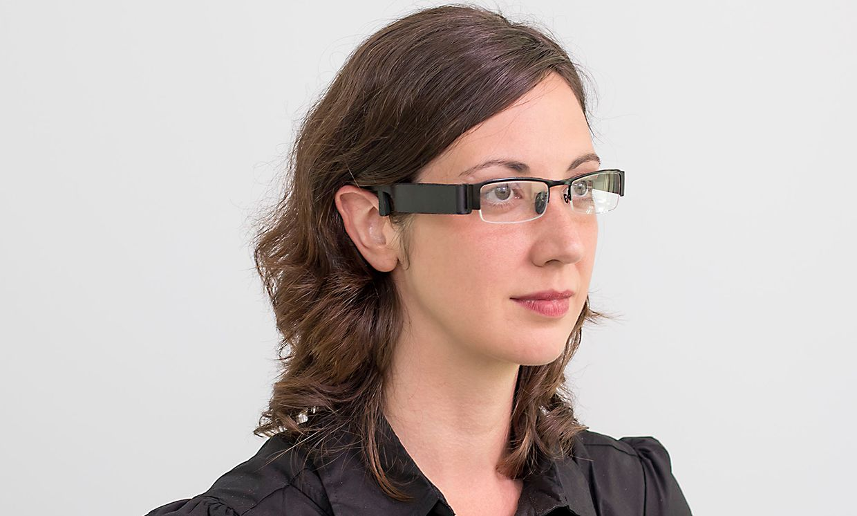 Female user wearing Glabella glasses for the in-the-wild evaluation task.